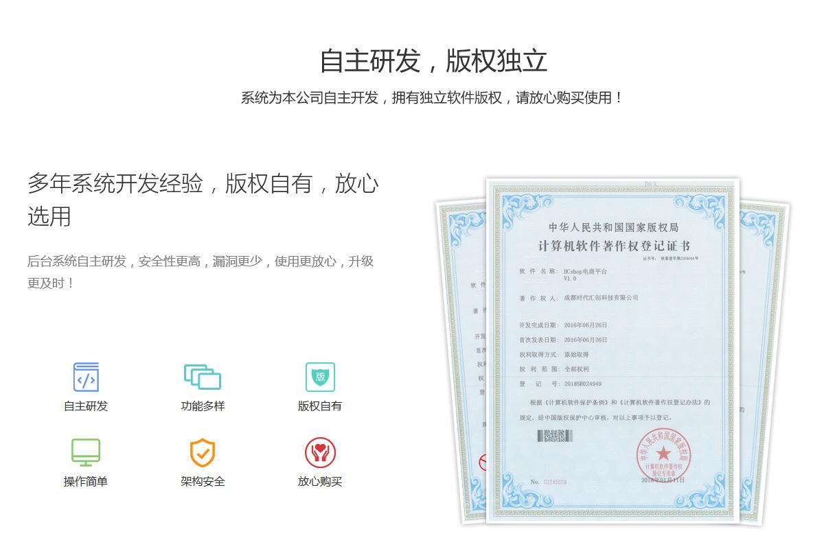 hcshop,hcmall软件著作权登记证书